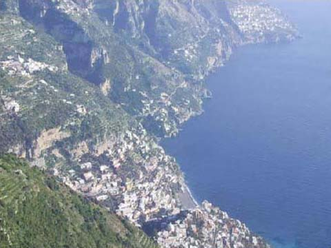 Positano Italy, wonderful view from mountains of Positano in Amalfi Coast, Italia